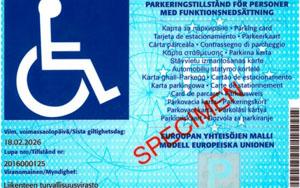 Vammaisen pysäköintilupaesimerkki