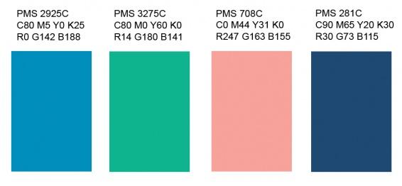 Savonlinnan värit, värikoodit on kerrottu myös Logo-ohjeistuksessa.