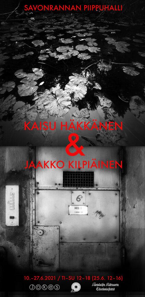 Savonrannan Piippuhallin näyttelyjuliste, Kaisu Häkkänen   ja Jaakko Kilpiäinen (mustavalkoinen)