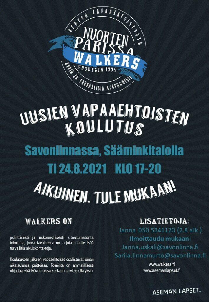 Uusien Walkers-vapaaehtoisten koulutus Savonlinnassa, Sääminkitalolla ti 24.8.2021 klo 17-20.